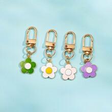 4pcs Flower Pendant Keychain