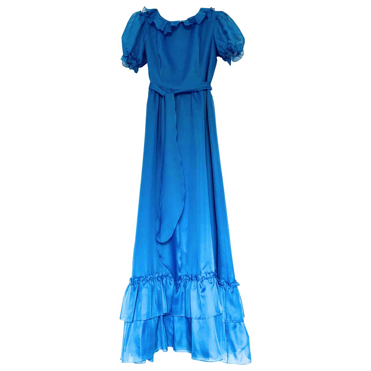 - Robe Manche ballon pour femme - bleu