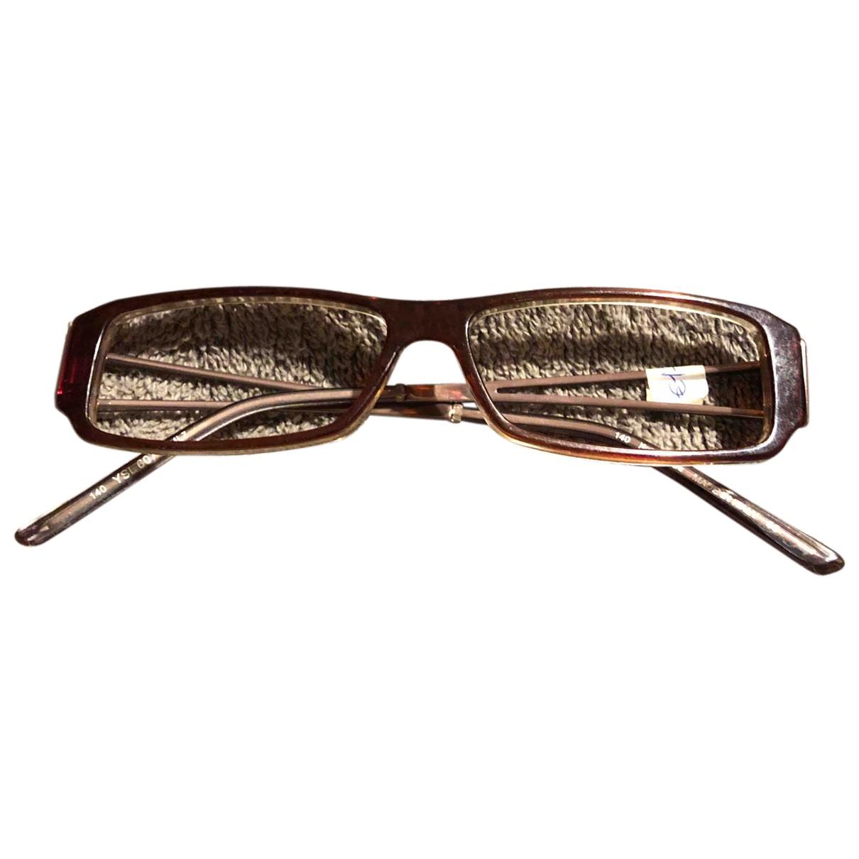 Yves Saint Laurent N Burgundy Metal Sunglasses for Women N