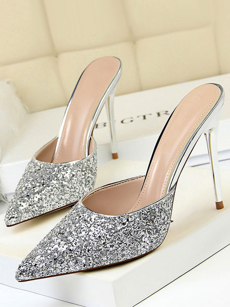 Milanoo Women High Heels Sequined Pointed Toe Stiletto Heel Mules Shoes Champagne Evening Shoes