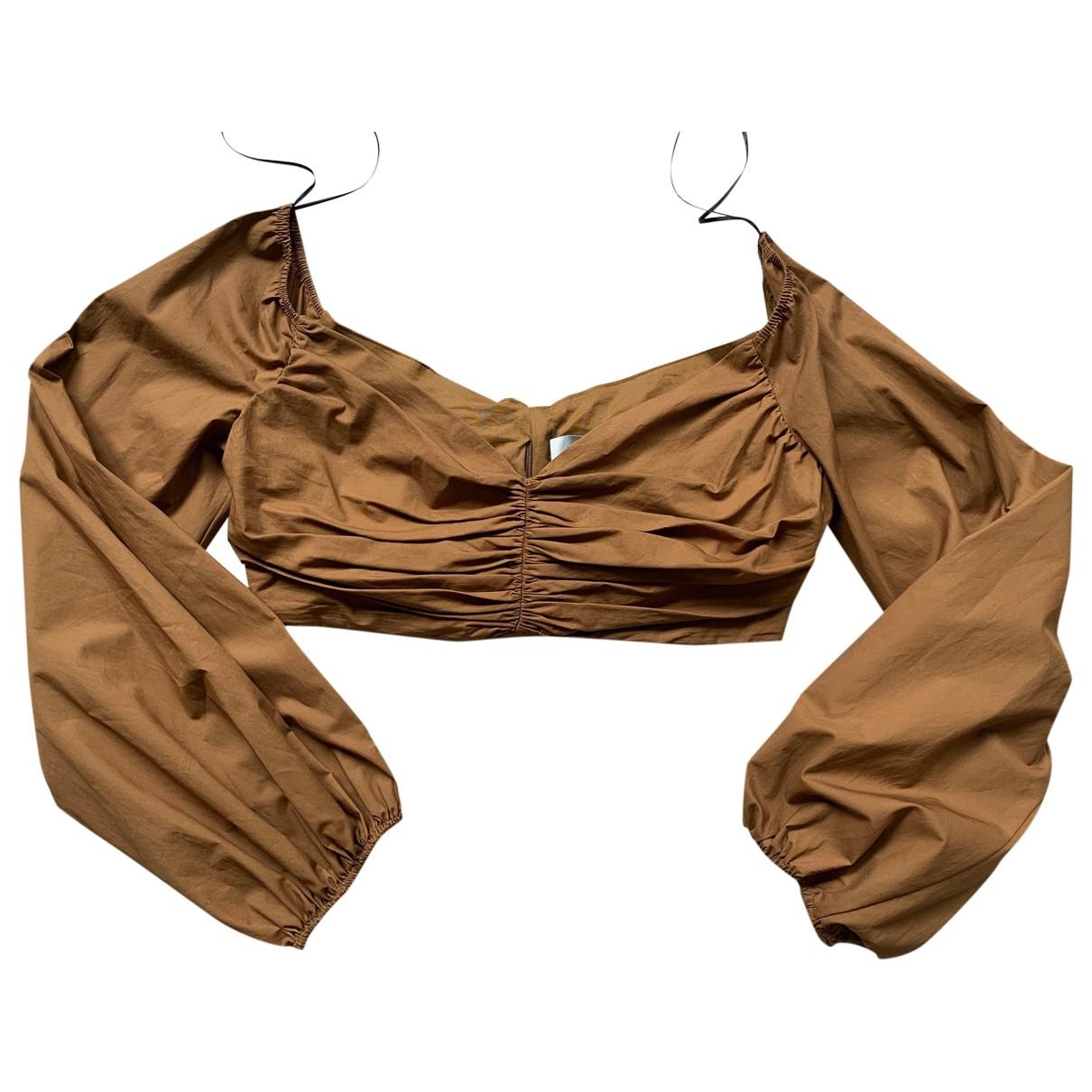 Zara - Top   pour femme en coton - marron