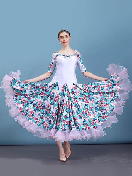 Milanoo Ballroom Dance Costume White Floral Print Half Sleeve Women Training Dancing Dresses