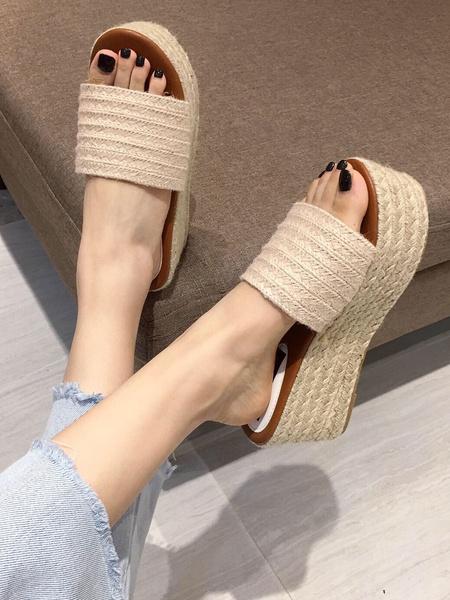 Milanoo Women Sandal Slides Cane Flatform Open Toe Sandal Shoes