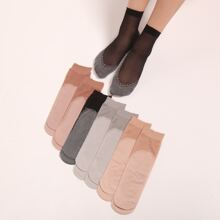 8 Paare Zweifarbige Socken mit Netzstoff