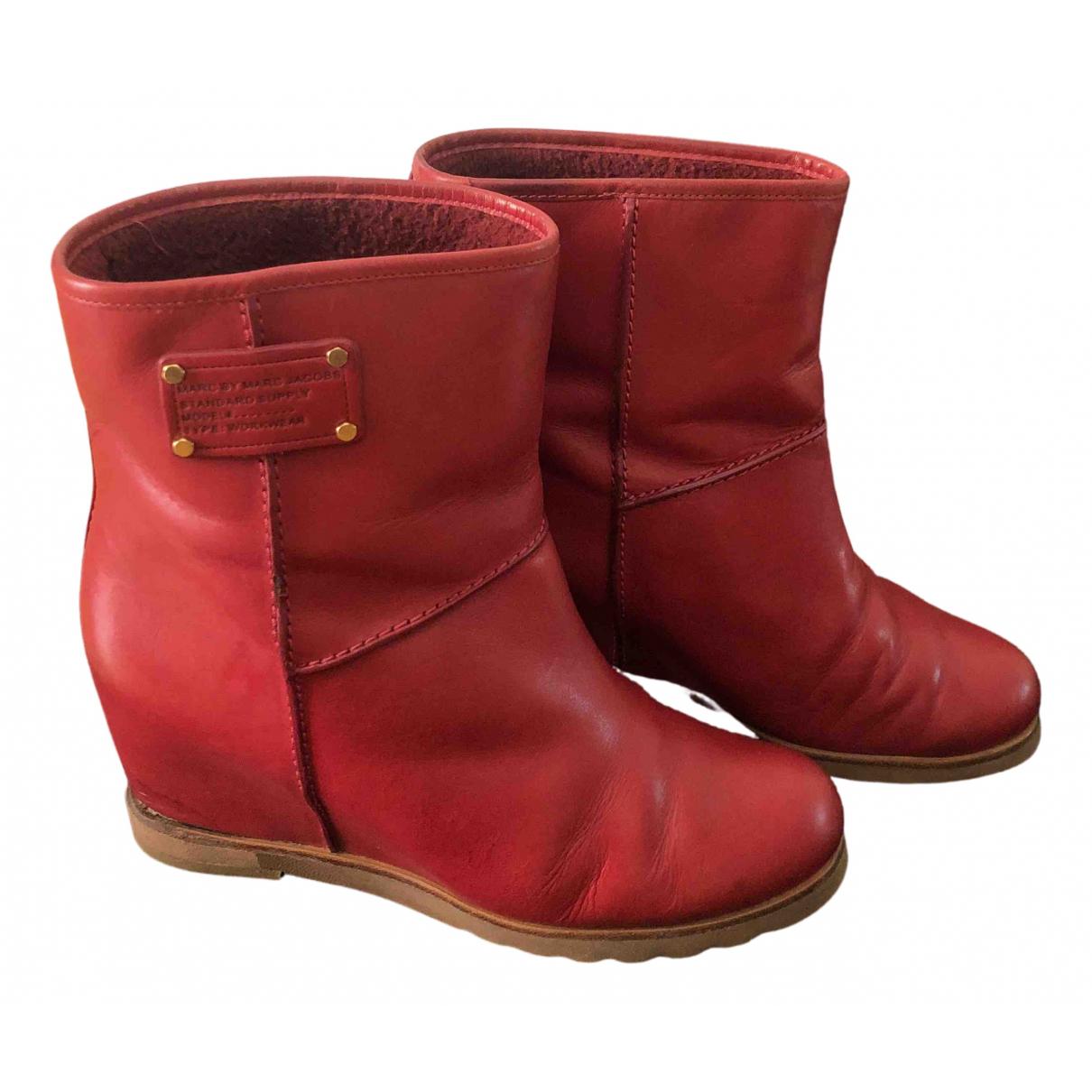 Marc By Marc Jacobs - Boots   pour femme en cuir - rouge
