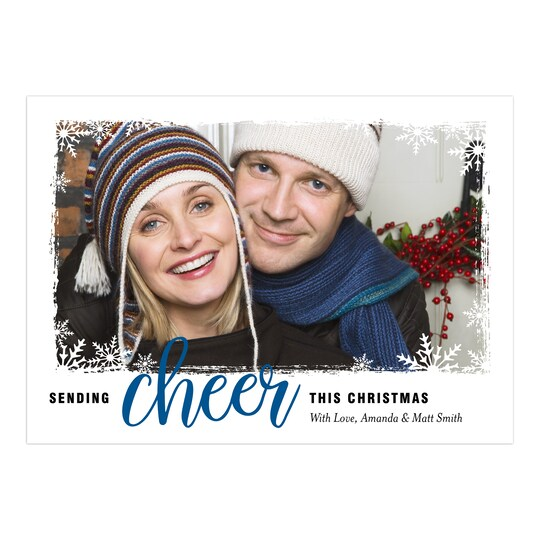 20 Pack of Gartner Studios® Personalized Snowflake Cheer Flat Holiday Photo Card in Cobalt | 5