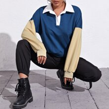 Button Half Placket Colorblock Sweatshirt