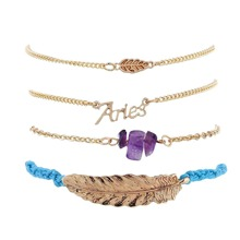 4 Stuecke Blatt & Brief Dekor Armband