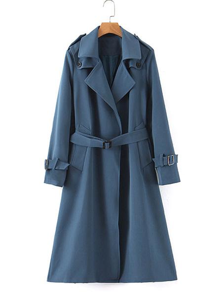 Milanoo Gabardina de mujer Abrigo largo de manga larga con cuello vuelto azul marino con cinturon