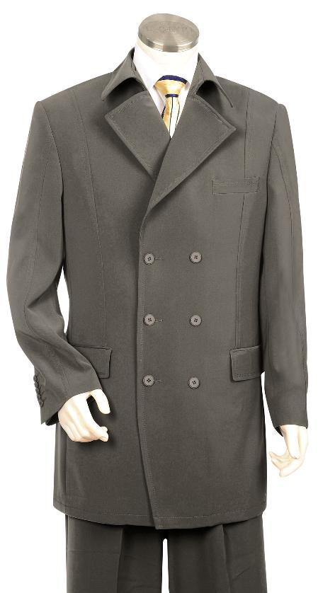 6 Button Grey Zoot Suit Mens