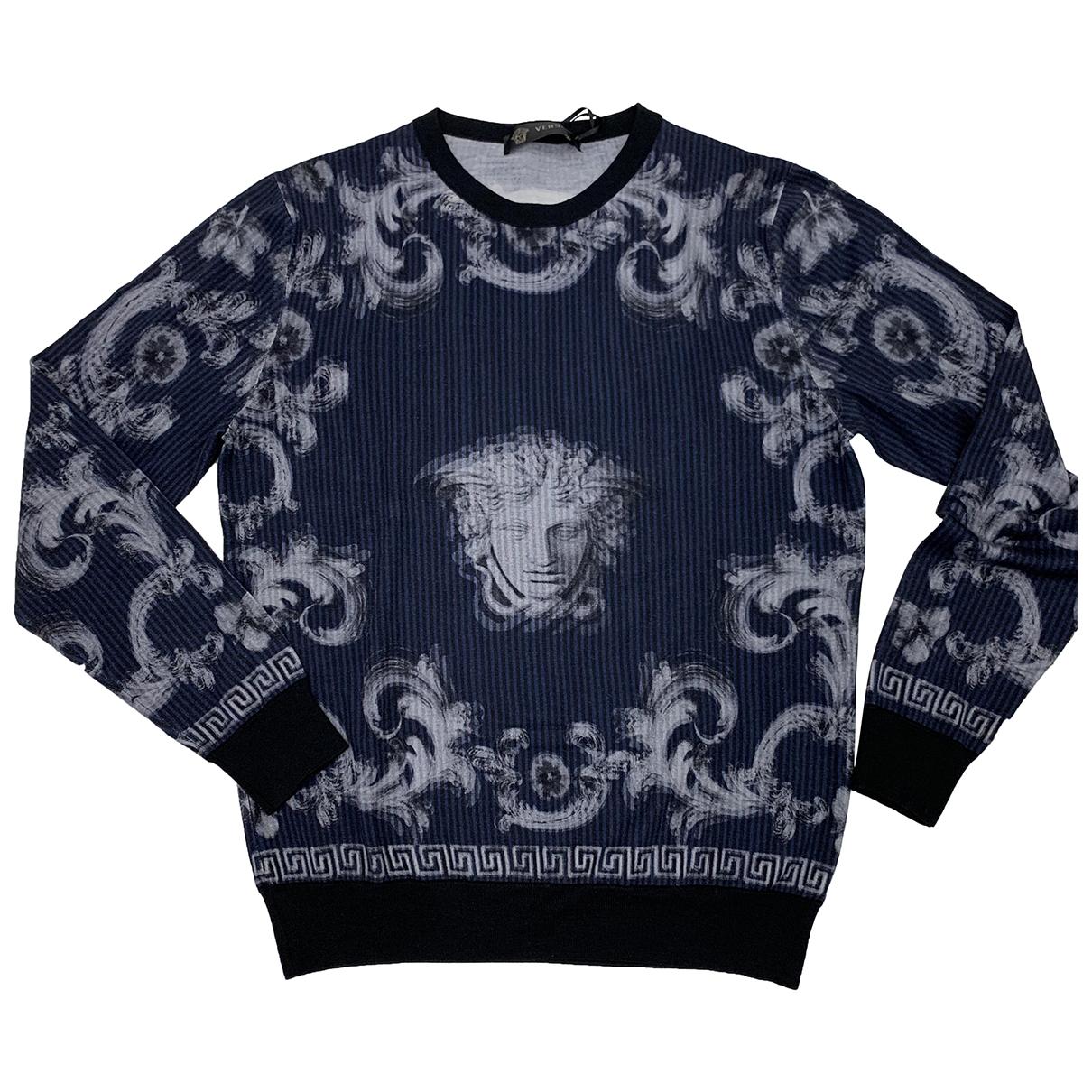 Versace \N Pullover.Westen.Sweatshirts  in  Blau Wolle