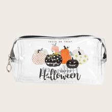 1pc Halloween Pumpkin Pattern Makeup Bag