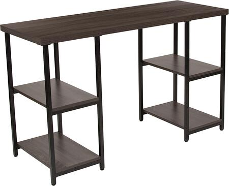 NAN-JN-21704-GG Homewood Collection Driftwood Finish Console Table with Black Metal