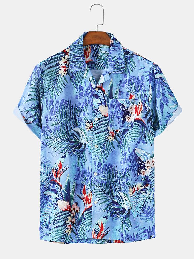 Mens Floral & Coconut Beach Print Summer Holiday Short Sleeve Shirts