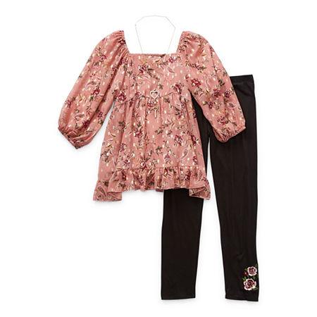 Knit Works Sets Little & Big Girls 3-pc. Legging Set, Large (14) , Pink