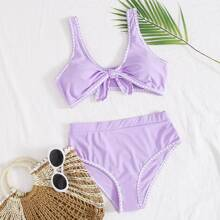 Whip Stitch Knot Front Bikini Swimsuit
