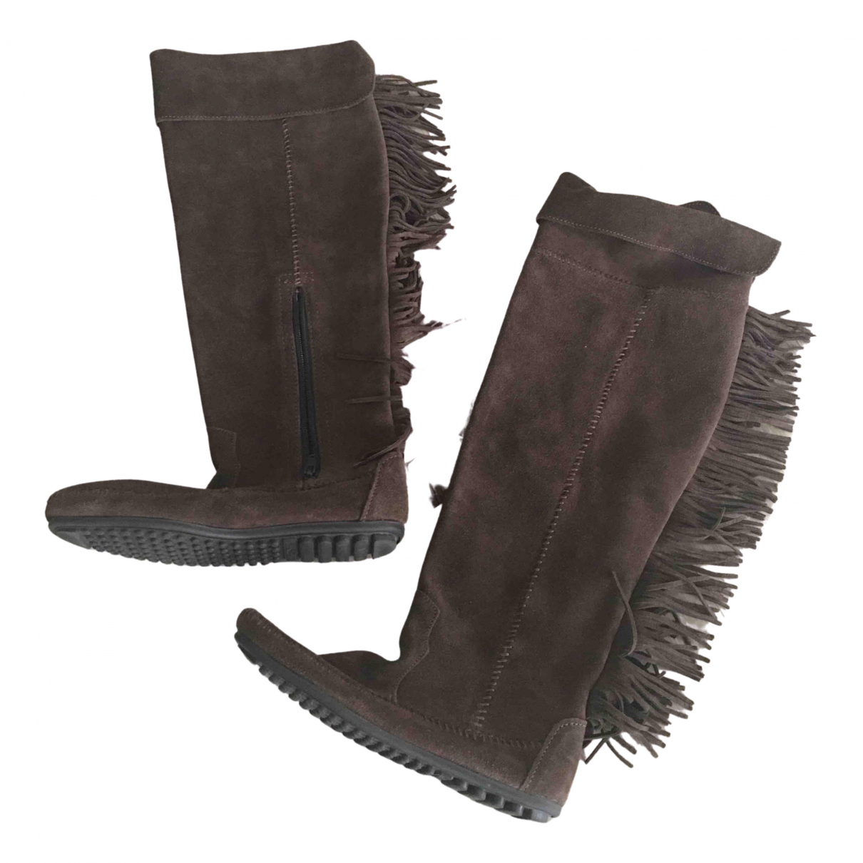 Minnetonka N Brown Suede Boots for Women 6 US