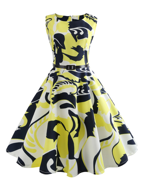 Milanoo Vestido vintage sin mangas de las mujeres del vestido de la vendimia de los años 50 Impreso Summr amarillo