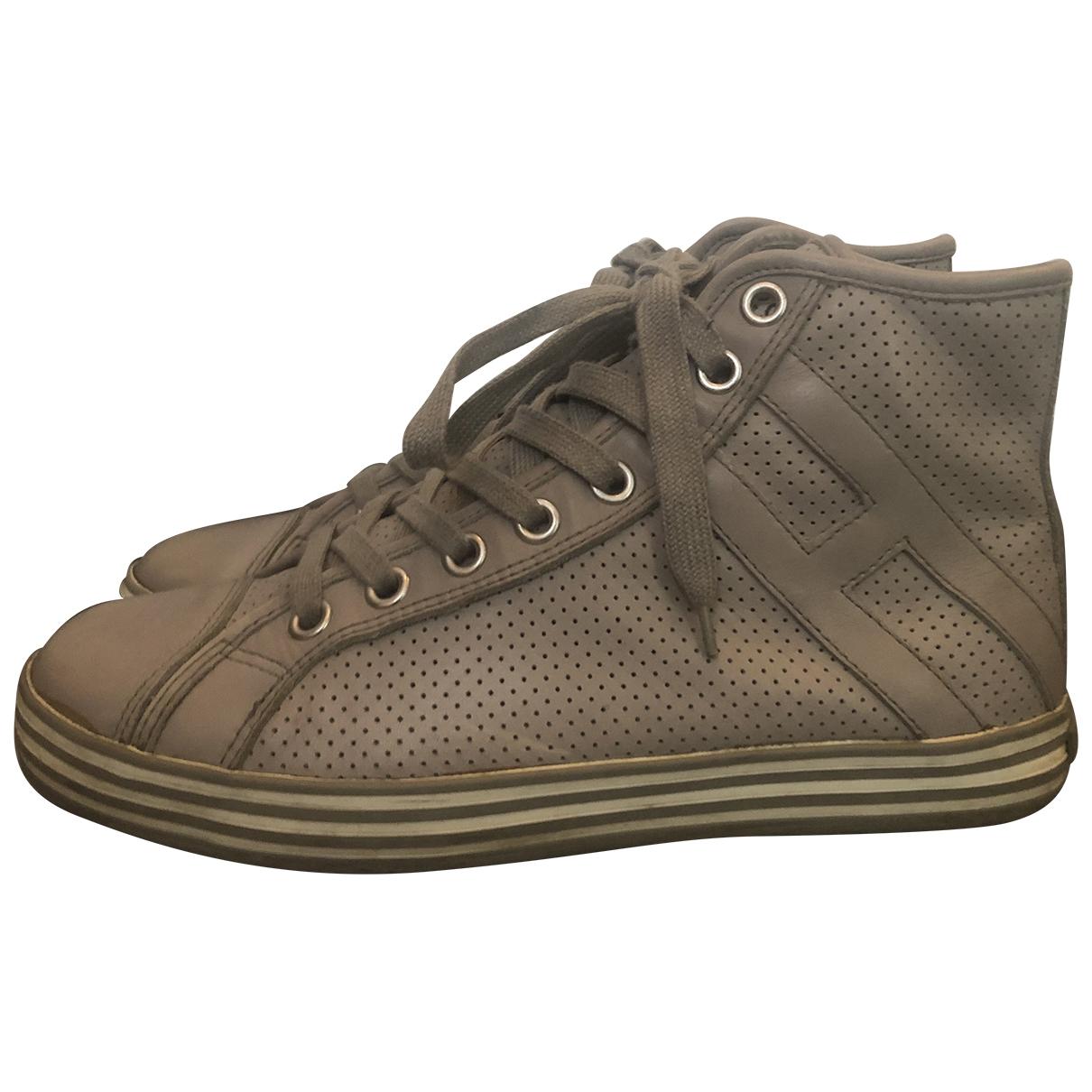 Hogan - Baskets   pour homme en cuir - gris