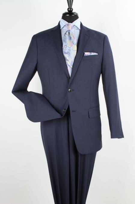 Mens 2 Piece 1 Wool Executive Suit Notch Lapel Solid Navy