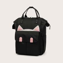 Mochila con bolsillo delantero con diseño de oreja de gato