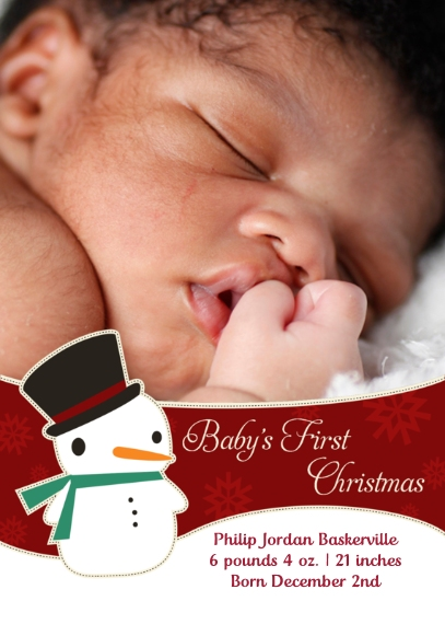 Christmas Photo Cards Flat Matte Photo Paper Cards with Envelopes, 5x7, Card & Stationery -Sweet Snowman