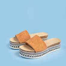 Open Toe Suede Wedge Mules