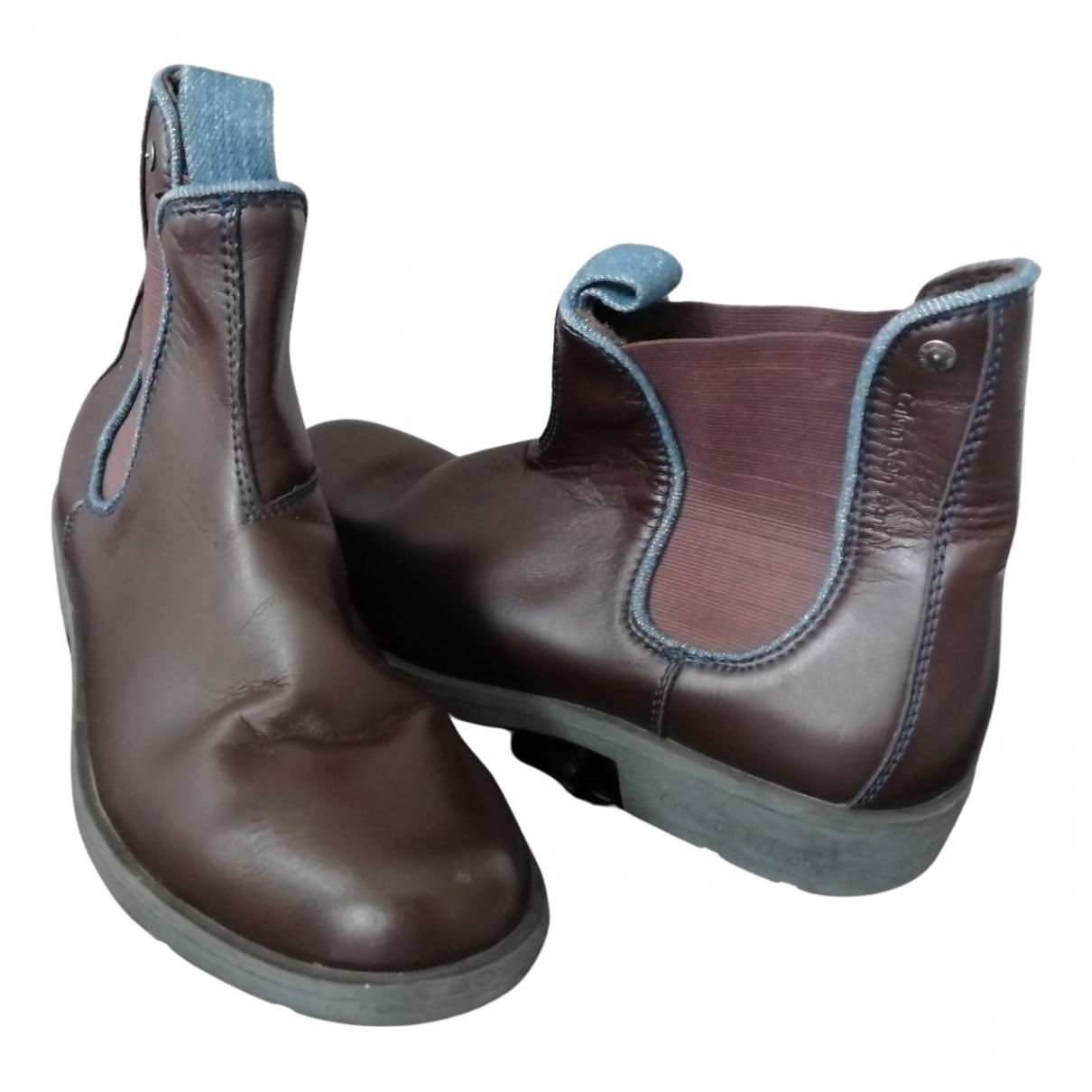 Calvin Klein N Brown Leather Boots for Men 41 EU