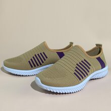 Striped Graphic Knit Slip On Sneakers