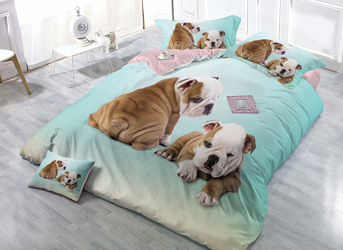 Khaki Bulldog Light Blue Wear-resistant Breathable High Quality 60s Cotton 4-Piece 3D Bedding Sets