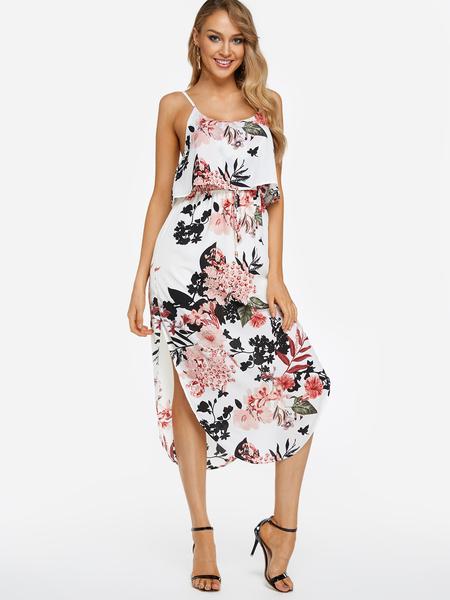 Yoins White Adjustable Shoulder Straps Random Floral Print Spaghetti Strap Slit Hem Dress