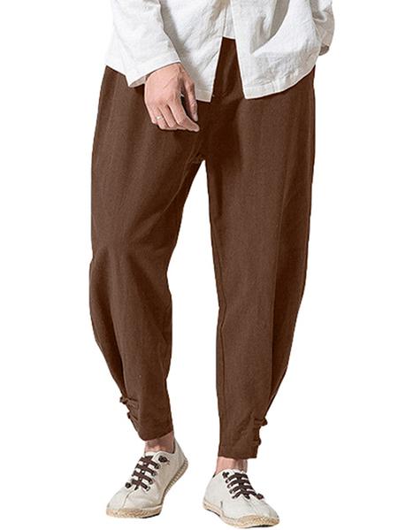 Yoins INCERUN Men Casual Baggy Cotton Linen Solid Color Loose Frog Button Harem Pants