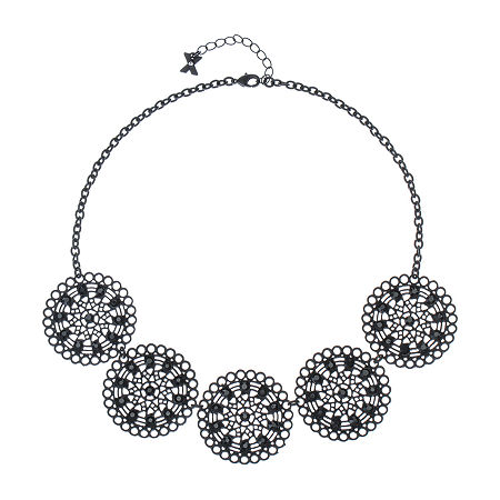 Mixit Black 17 Inch Cable Collar Necklace, One Size , Black
