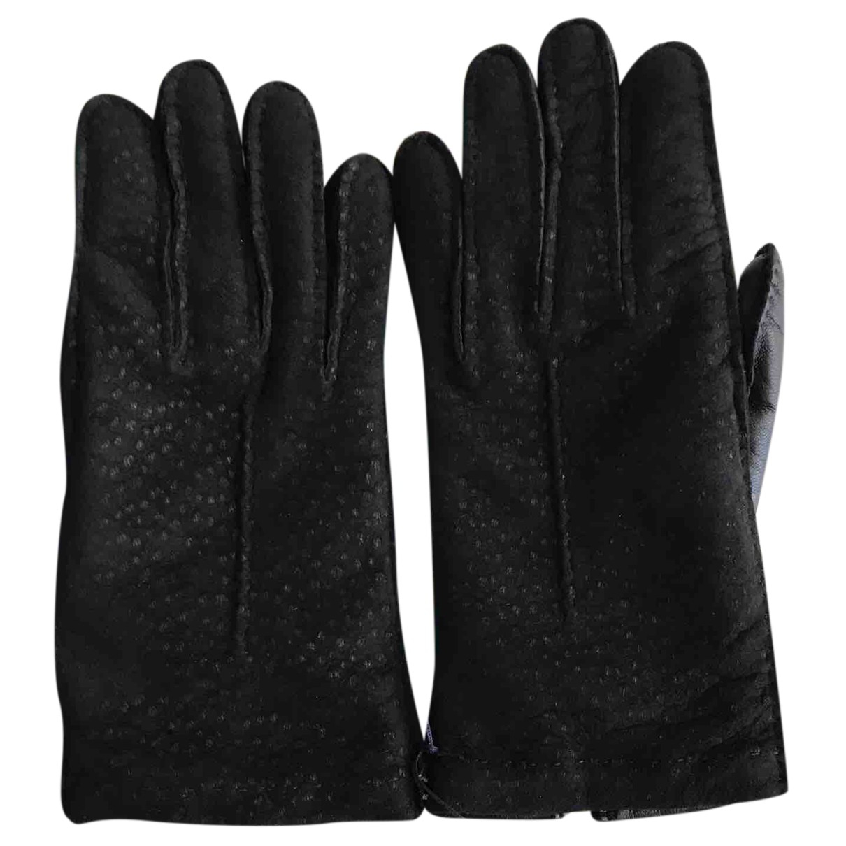 Omega N Black Leather Gloves for Women 7.5 Inches