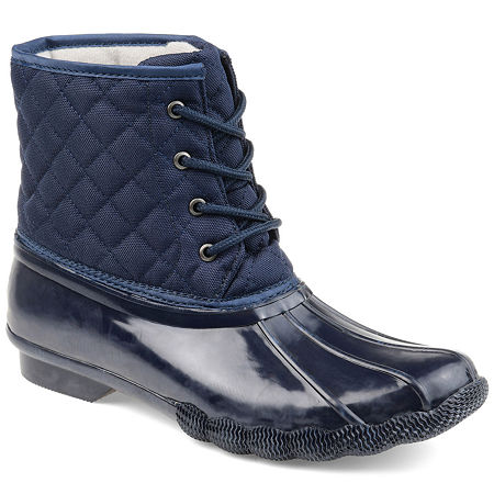 Journee Collection Womens Chill Water Resistant Snow Block Heel Lace-up Boots, 7 1/2 Medium, Blue
