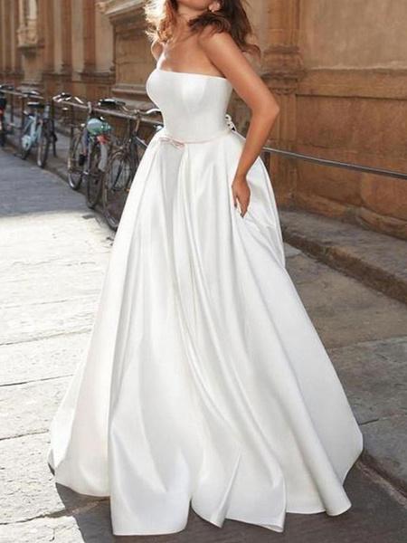 Milanoo Vintage Wedding Dress Strapless Sleeveless Natural Waist Satin Fabric Floor Length Bows Traditional Dresses For Bride