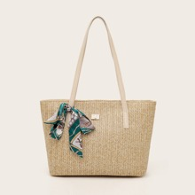 Twilly Scarf Decor Woven Tote Bag