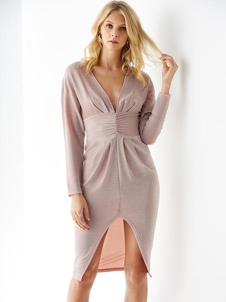 YOINS Pink Split Design Deep V Neck Long Sleeves Dress