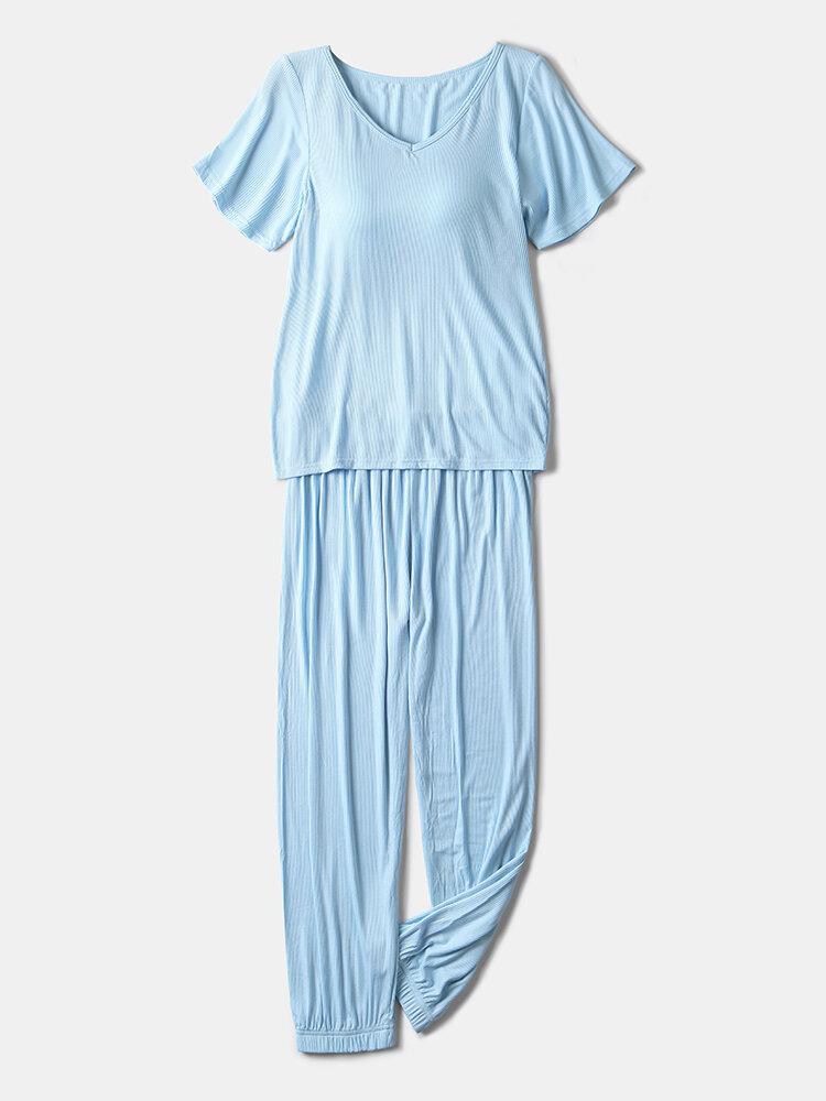 Women Ribbed V-Neck Softies Pajamas Set With Chest Pads Elastic Waist Beam Feet Sleepwear