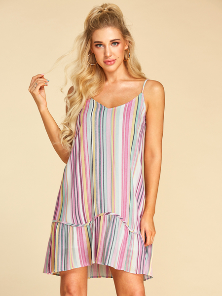 YOINS Color Block Backless Design V-neck Sleeveless Dress