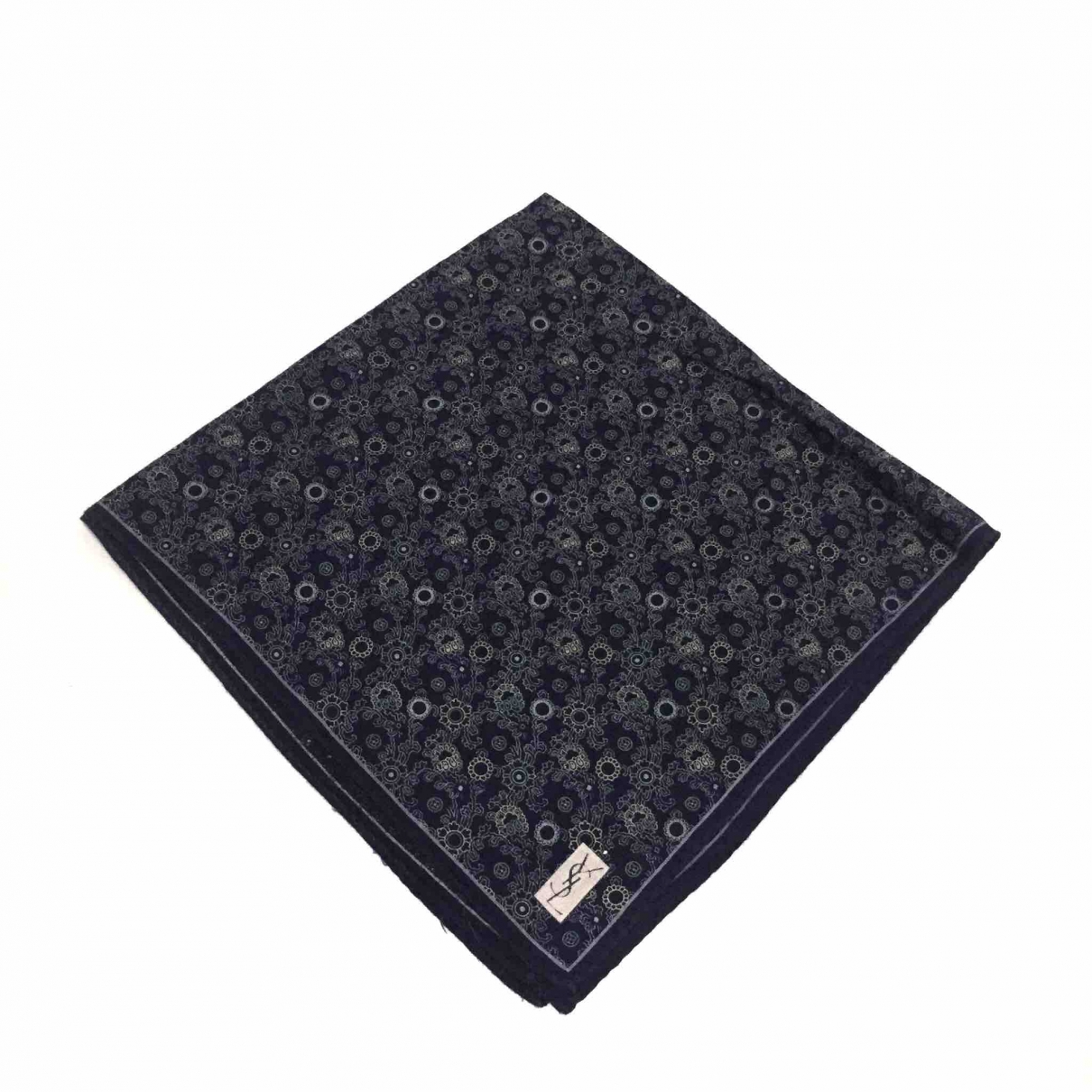 Yves Saint Laurent \N Blue Cotton Silk handkerchief for Women \N