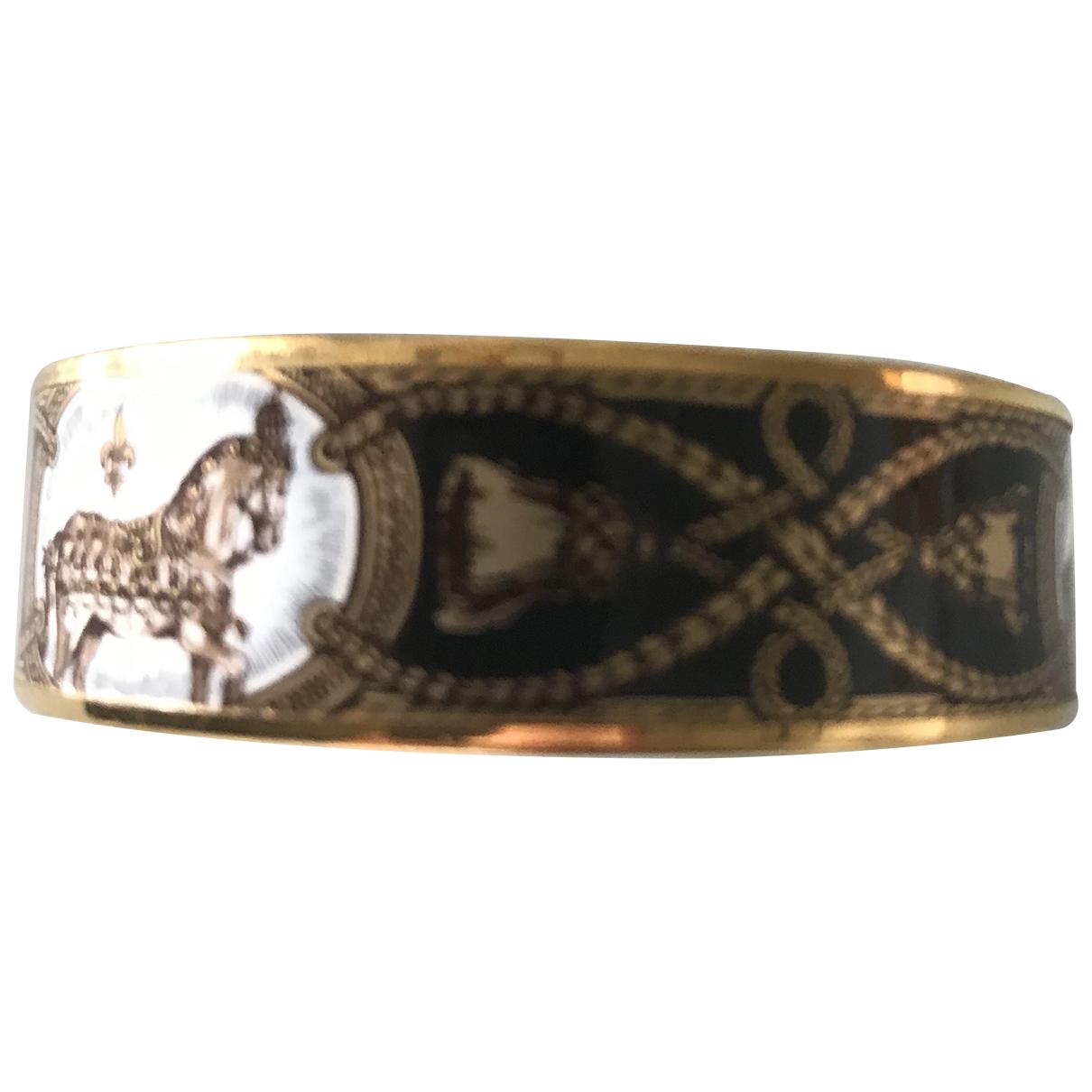 Hermes Bracelet Email Armband in  Schwarz Vergoldet