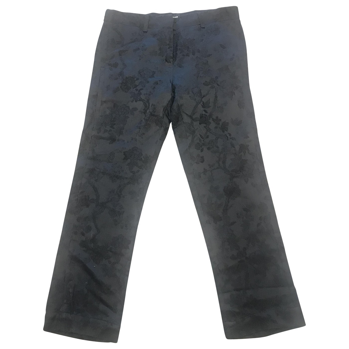 Ann Demeulemeester \N Black Cotton Trousers for Women 36 FR