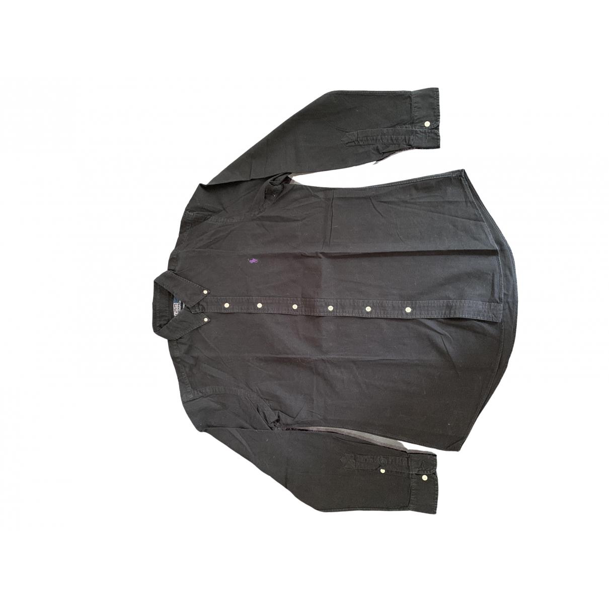 Polo Ralph Lauren - Chemises Polo ajuste manches longues pour homme en coton - noir
