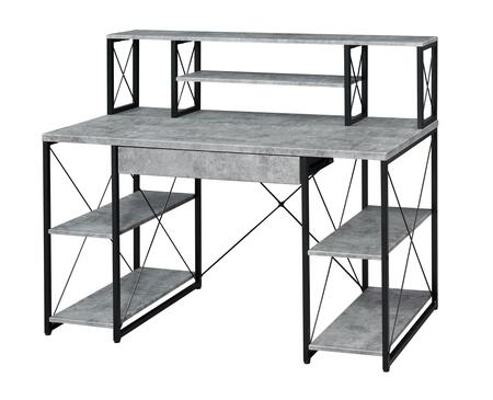 BM209610 Metal Desk with 4 Open Bottom Shelves and Bookcase Hutch  Gray and