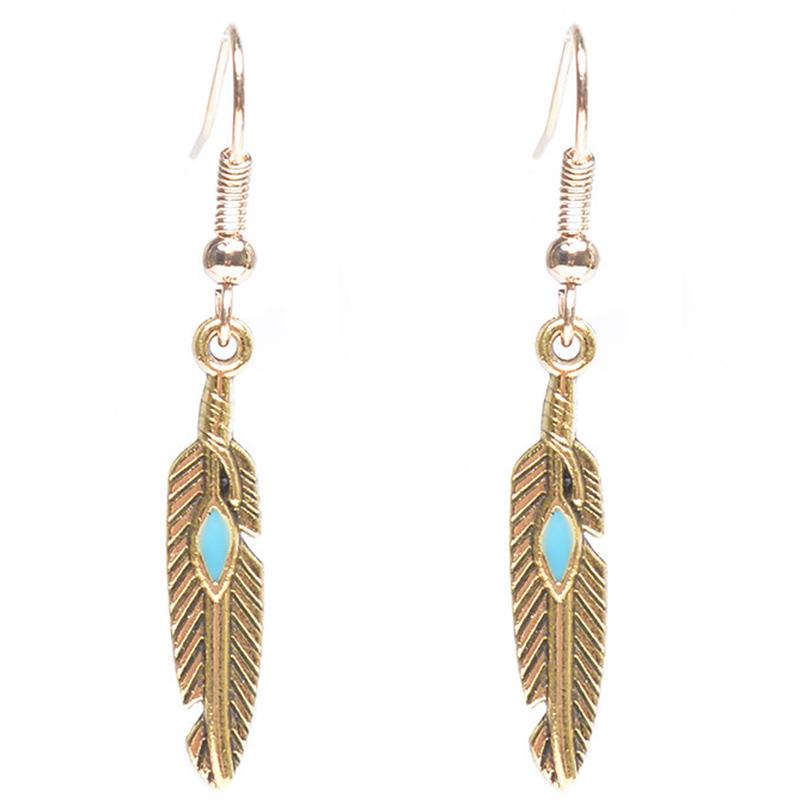 Vintage Feather Design Alloy Pendant Earring