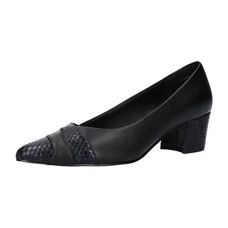 Easy Street Womens Elle Pumps Block Heel, 6 1/2 Wide, Black