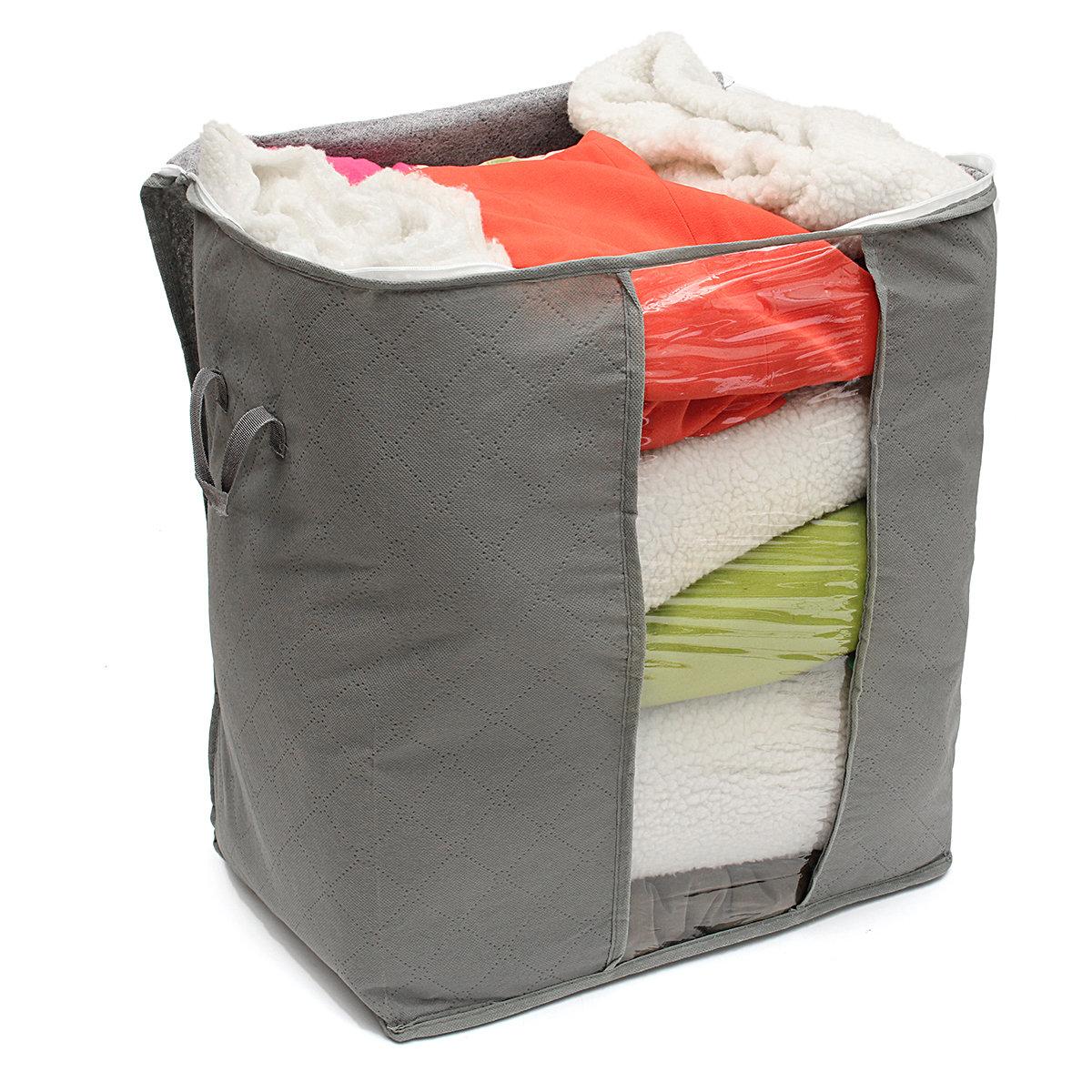 Foldable Bamboo Charcoal Storage Bins Clothes Blanket Closet Organizer Bag Case