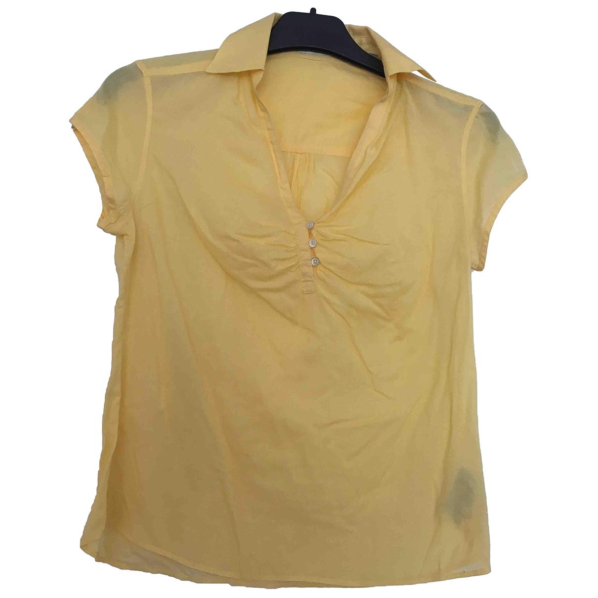 Massimo Dutti - Top   pour femme en coton - jaune