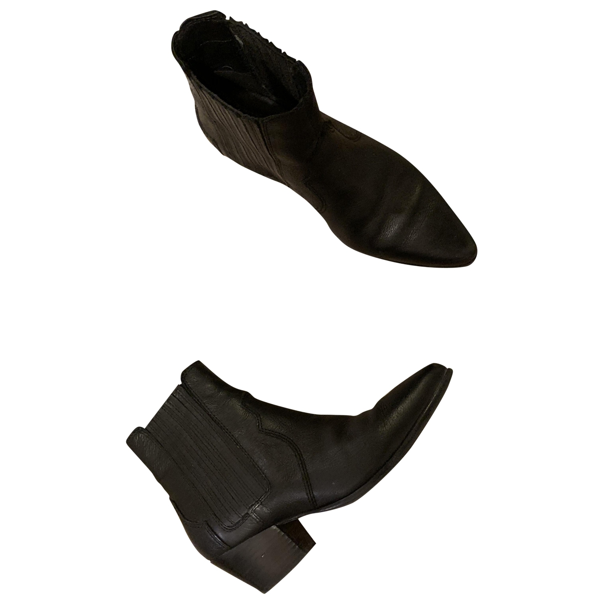 Mango \N Stiefel in  Schwarz Leder